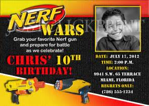 Nerf Gun Wars Birthday Photo Invitation Printable from Just Click Print