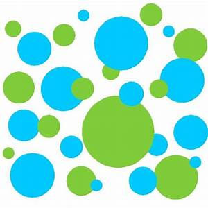 Set of sky blue and lime green polka dots circles wall