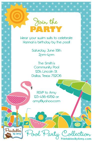 Pool Party Collection {printables}  Party Printables By. Personal Trainer Business Cards. Free Past Due Invoice Email Template. Avery Shipping Labels Template. Event Flyer Template Word. Breaker Panel Label Template. Money Leis For Graduation. Template For Bill Of Sale. Create Photo Collage Free