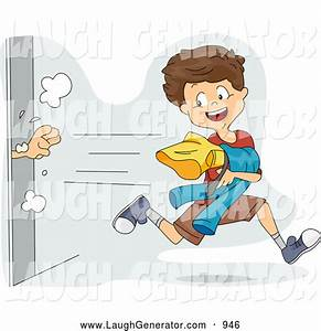 Humorous Clip Art of a Mischievous Boy Snagging Clothes ...