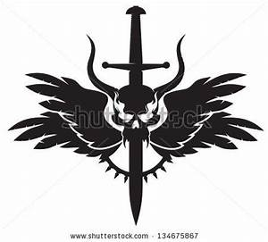 tribal tattoo demon wings sword silhouette vinyl | Vinyl ...