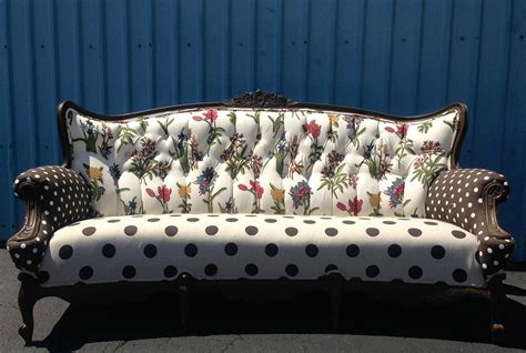 loveseat settee upholstered custom unique upholstered vintage sofa tufted upcycle