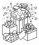 Coloring Christmas Gift Box Pages Gifts Boxes Present Presents Printable Getcoloringpages sketch template