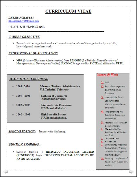 Ideal Resume by Resume Co Sle Of An Ideal Resume Of Mba Finance
