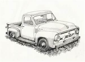 drawn car 57 chevy pencil and in color drawn car 57 chevy With 1955 ford f100 red