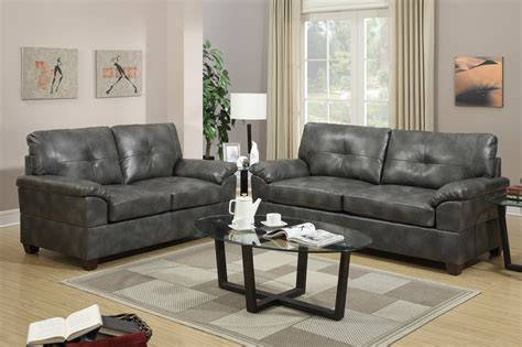 Leather Sofa And Loveseat Sets by Poundex Elimination F7583 Grey Leather Sofa And Loveseat
