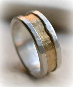 mens rustic fine silver and brass ring handmade hammered With mens brass wedding ring
