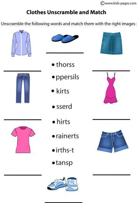 clothes unscramble worksheets engleza pinterest