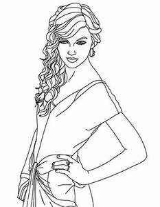 Beautiful Taylor Swift Coloring Page Famous People