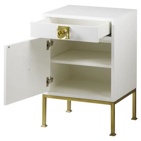Metal Nightstand by Boyd Modern Classic White Wood Frame Gold Metal Base