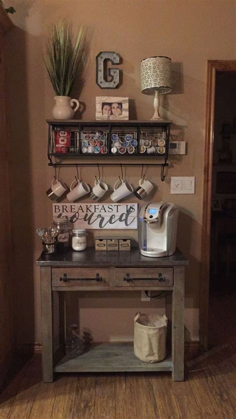 You can create your personal unique coffee station right in your own kitchen. Corner Coffee Wine Bar 11 - decorisme   Coffee bar home, Rustic coffee station, Decor