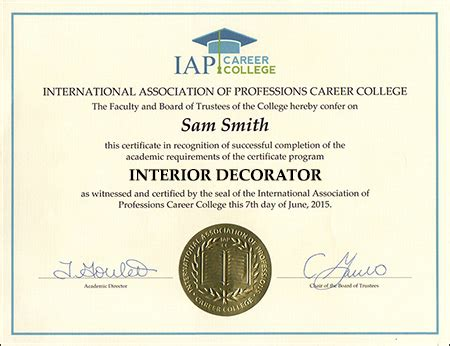 Certifications For Interior Designers by Interior Decorator Certificate Course