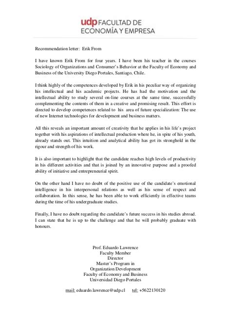 Academic Recommendation letter - Erik From