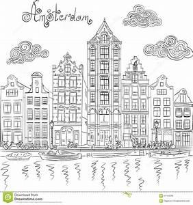 vue de ville de vecteur de canal d39amsterdam illustration With dessin plan de maison 3 dessin de ville damsterdam illustration de vecteur