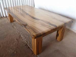 Wood slab coffee table design images photos pictures for Polished wood coffee table