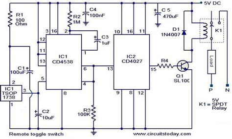 Remote Toggle Switch Circuit Electronic Circuits