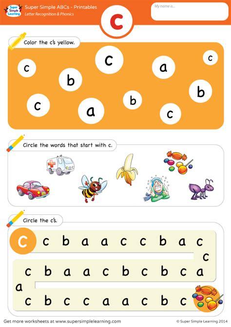 lowercase letter c alphabet worksheet from simple