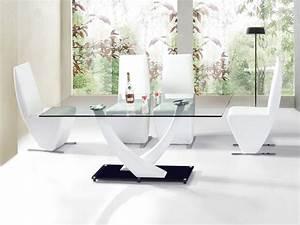 Table Salle A Manger Verre : table de salle a manger niko blanc verre table repas topkoo ~ Teatrodelosmanantiales.com Idées de Décoration