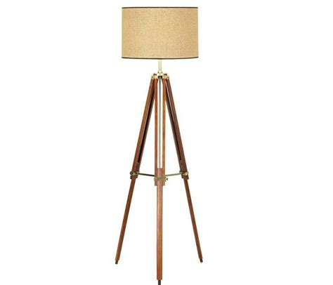 target tripod floor l with drum shade tripod floor l stocked in a rich walnut finish with a