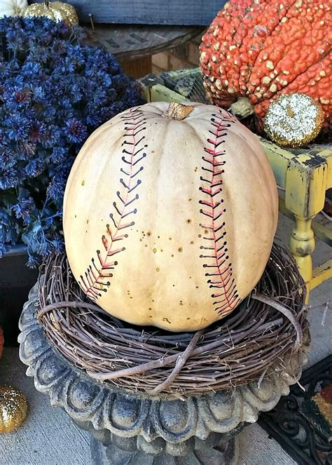 Baseball Pumpkin - Fall Decorating Ideas for sports fans ...