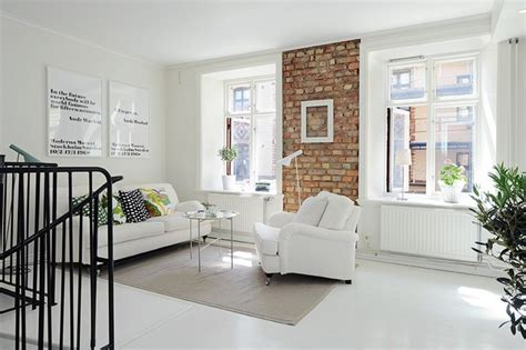 White Apartment, Brick Wall White Sofa White Brick Accent