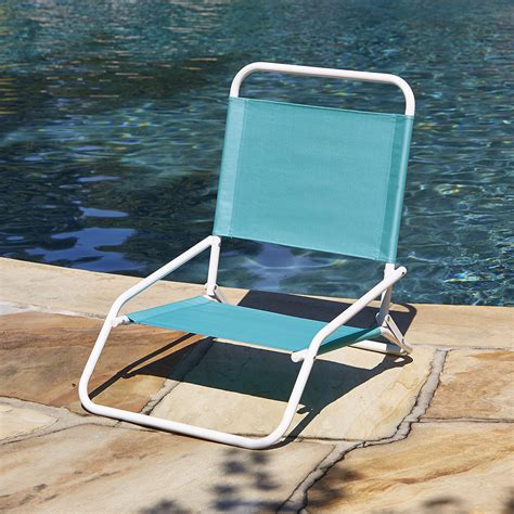 low back beach chair blue outdoor living patio