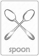 Spoon Coloring Printable Pdf sketch template