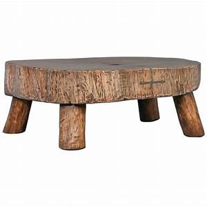 rustic antique coffee table made from large slab of wood With old rustic coffee tables