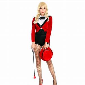 Female Magician Halloween Costume Black Red White Mixing ...
