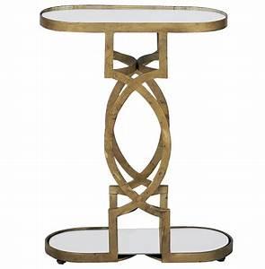Natasha, Art, Deco, Antique, Brass, Geometric, Side, End, Table
