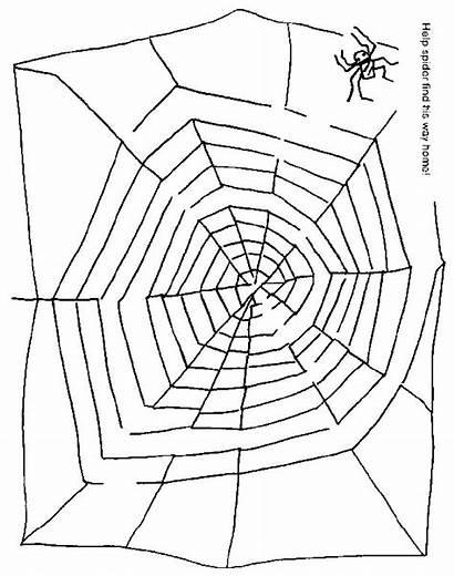 Spider Halloween Maze Web Preschool Mazes Worksheets