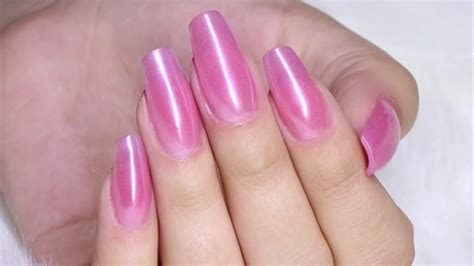 One-bead Acrylic Nails + Metallic Pink Chrome Nails