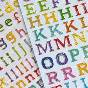 2 sheets set colorful capital small letter english With colored letter stickers