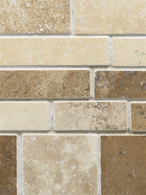 TRAVERTINE SUBWAY MIX Backsplash Tile   Ivory Beige Brown