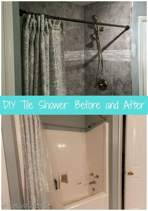 shower after diy tile shower before and after pasta and a