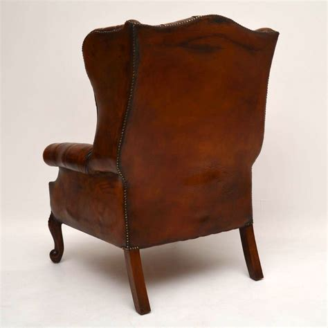 Large Antique Leather Wing Back Armchair Marylebone