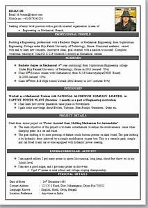 Student Cv Template Science Mechanical Engineering Resume Format