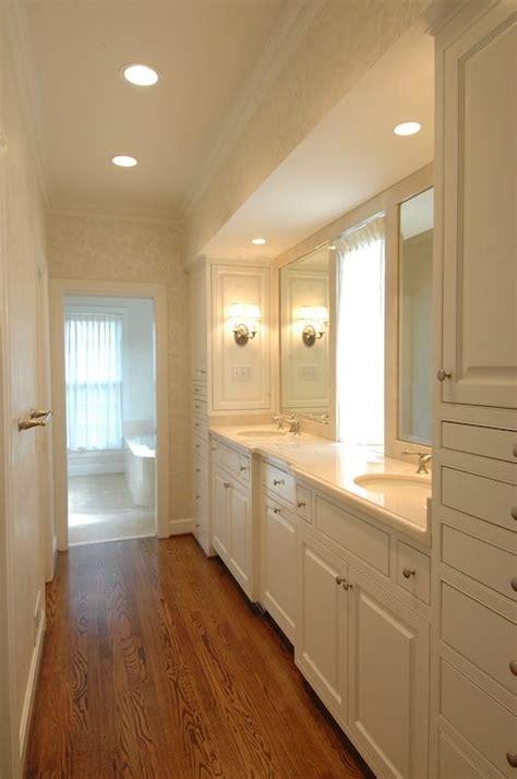 galley bathroom ideas galley style master bathroom ivory damask wallpaper