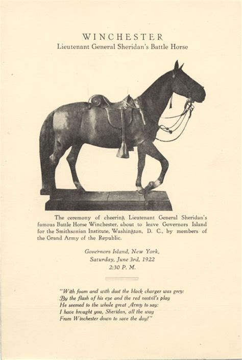 war civil horse horses sheridan philip battle history american army museum wars dead general farewell ceremony program cavalry winchester national