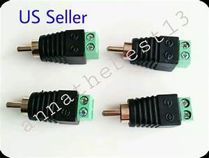 4 Pcs Speaker Wire Cable To Audio Male Rca Connector