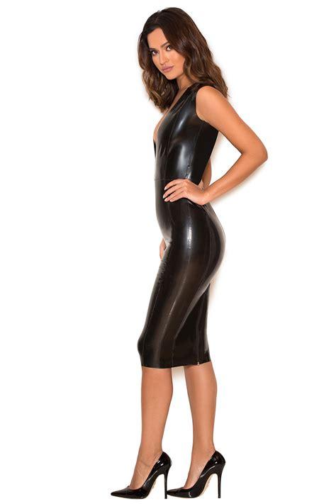 Clothing  Bodycon Dresses  'rivera' Black Deep V Latex Dress