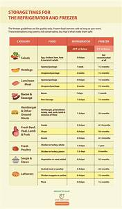 Storage Times For The Refrigerator And Freezer Infographic