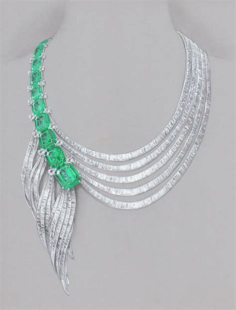 asymmetric emerald necklace pencil warter color and marker by wooakim jewelry