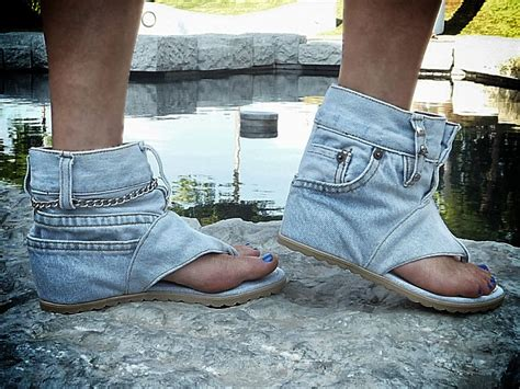 Ferociously Funky Sandals Made From Vintage Jeans
