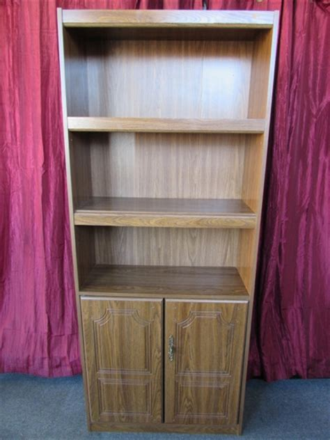Bookcase With Closed Storage by Lot Detail Sleek Bookcase Cabinet With 2 Shelves 2