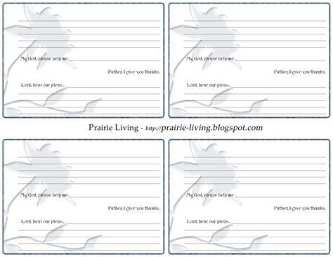 prayer card template prairie living prayer card