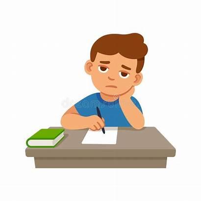 Bored Cartoon Boring Kid Homework Sitting Vector