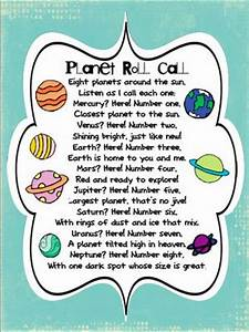 Planet Roll Call poem- so cute!   Space Lesson Plan ...