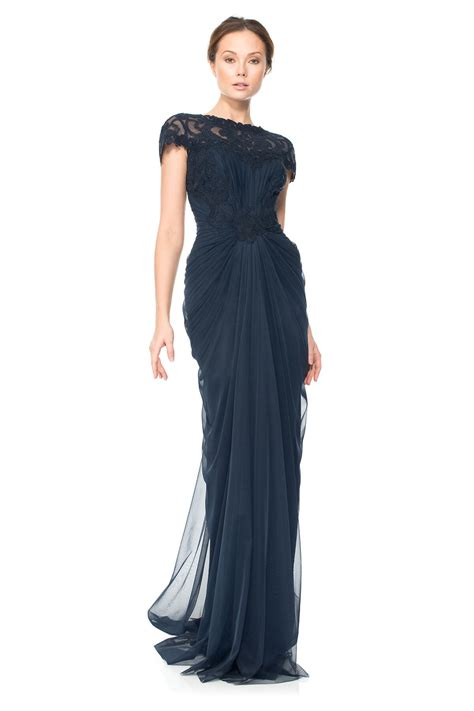 Drape Gowns - corded lace and draped tulle gown tadashi shoji