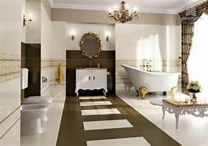 salle de bain design or blanc marron With salle de bain design avec décoration de tables